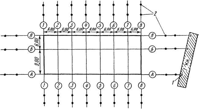 Схема детальной разбивки осей