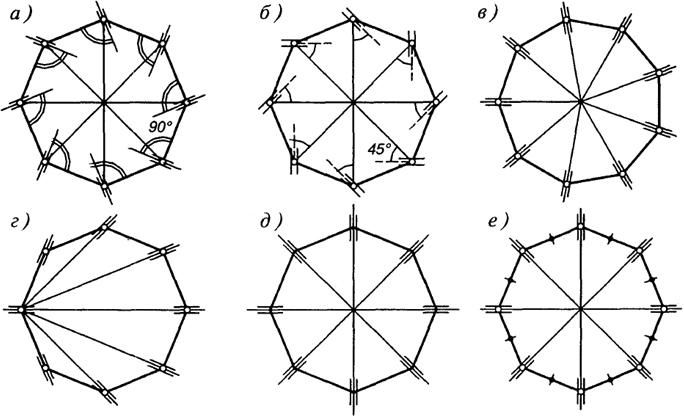 Схемы опорных колец куполов: а