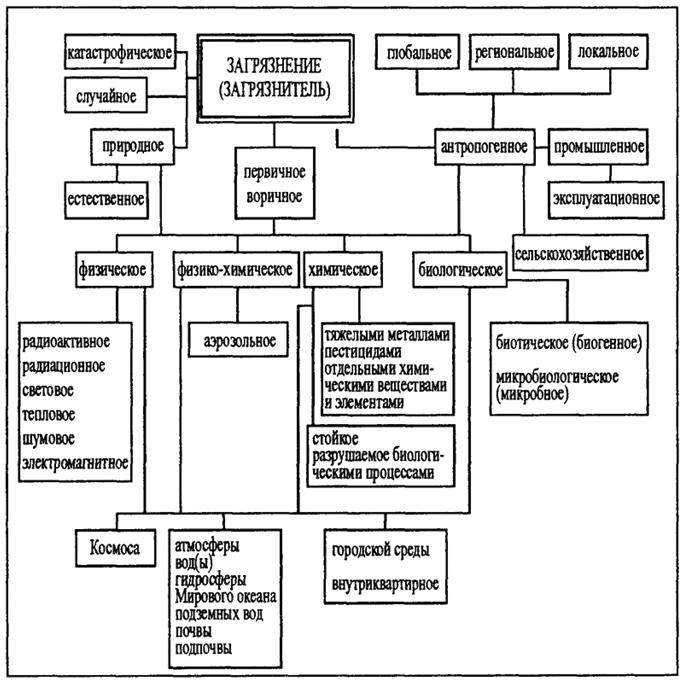 Схема форм загрязнителей